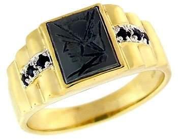 96: 10YG Hematite trojan carved head saph mans ring
