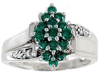 2001: WG .50c Teal Green White Diamond cluster ring