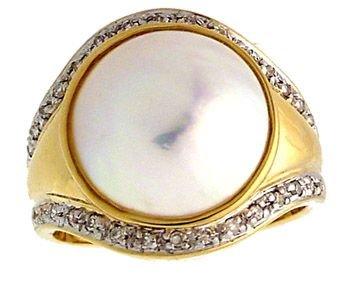 2002: 14YG 12.5mm white mabe pearl .16dia ring