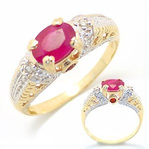 2005: 1ct Ruby oval w/ruby & dia Antique Style Ring