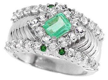 2009: WG .66c Columbian Emerald Tsav/Wh Sapp ring