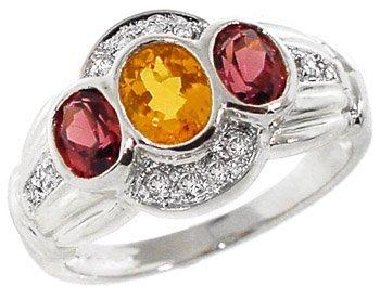 2011: WG .85ct Mandrin & Rhodolite Garnet Dia ring