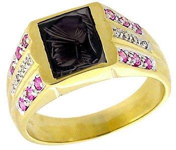 2013: 10YG Hematite trojan head Pink Saph mans ring