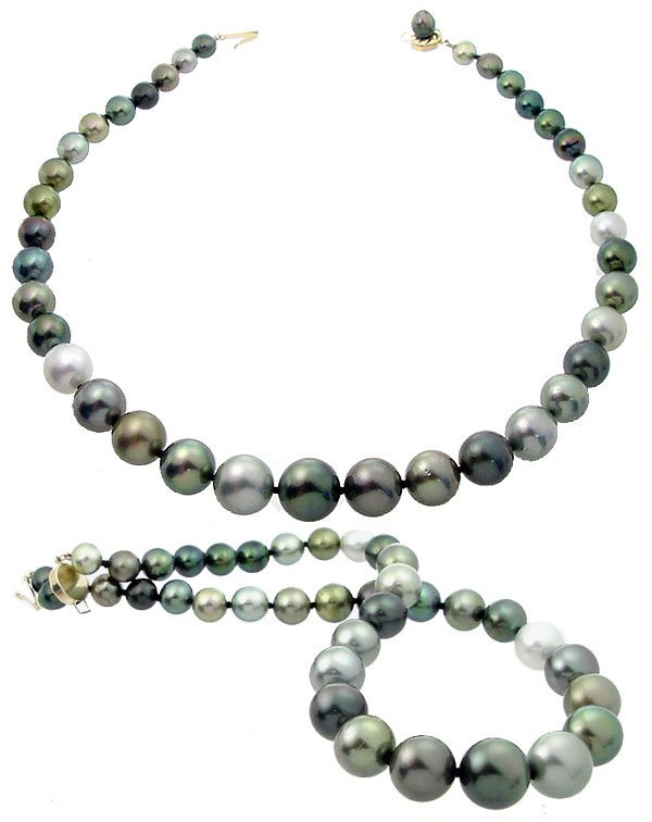 2045: 14YG 7.5/14mm Rainbow 38 Tahitian Pearl necklace