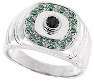 2061: WG .31cttw black & blue diamond mans ring