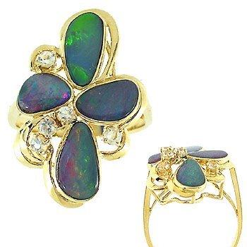 3004: 14k 2ct 4 Boulder opal .24 white sapphire ring