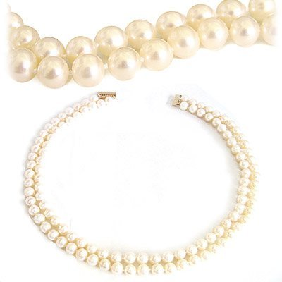 3005: 8/8.5 white pearl double strand 17in necklace