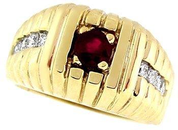 3006: 14KY .50ct Ruby .40 white diamond Mans Ring