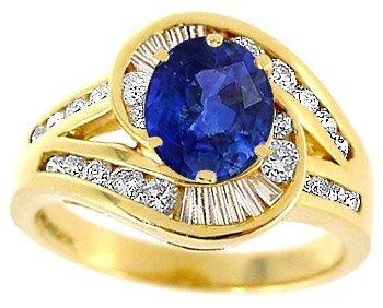 3011: 1.20ct Royal Blue Sapphire .75ct Diamond ring