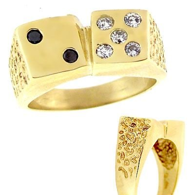 3012: 14YG .40ct B/ack & White Diamond Mans Dice Ring