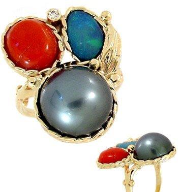 3015: 12.5mmTahitian 1/2 pearl coral opal dia ring