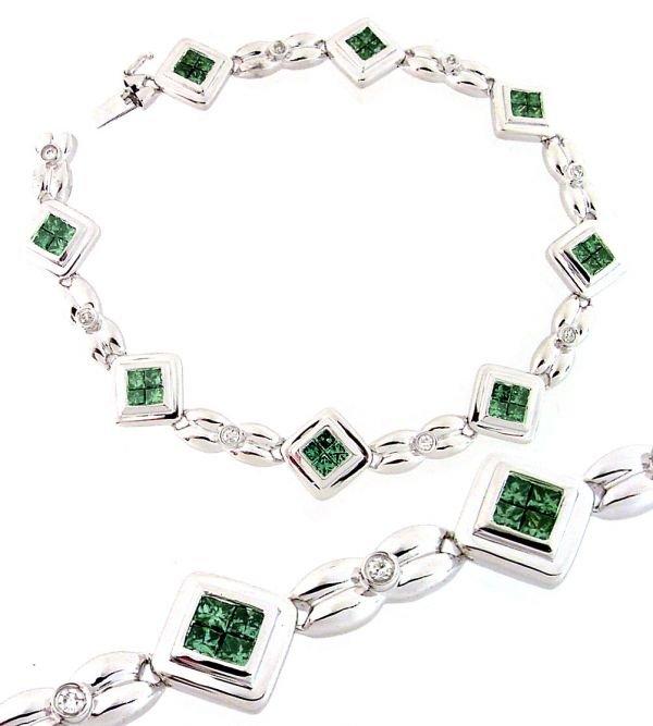 3016: 2.86ctw Princess-Cut Blue Diamond 8in Bracelet