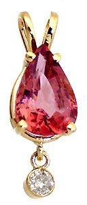 3017: 14YG 3.67ct Pink Tourmaline diamond pendant
