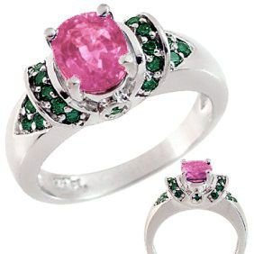 3018: WG 1.55ct Pink Sapphire .40ct Blue Diamond 1.95ct