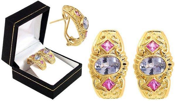 3019: 2.15ct Ceylon Sapphire pink etruscan earring
