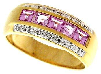 3023: 1.1ct Pink Sapphire diamond princess channel ring