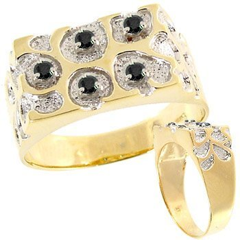 3026: .28ct Black Diamond Nugget Mans Ring