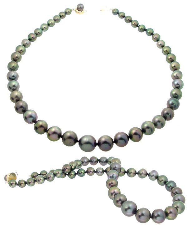 3072: 14YG 8/13mm 42 Tahitian pearl necklace
