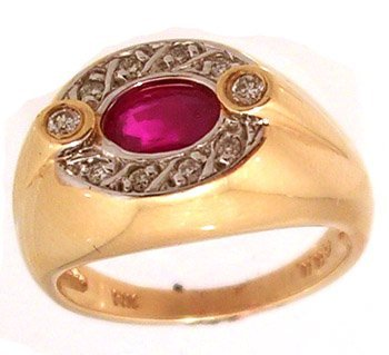 806: 14KY .90ct Ruby Oval .15cttw Diamond Bezel Ring