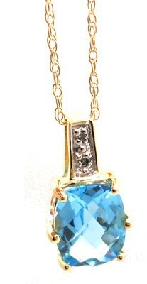 825: 14KY 2ct BlueTopaz Cushion Ckrbd Dia Necklace