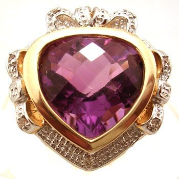 1100: 14KY 7ct Amethyst Ckrbd Diamond Heart Ring