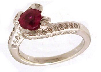 1108: 14KW .60ct Ruby Round .80cttw Diamond Bypass Ring