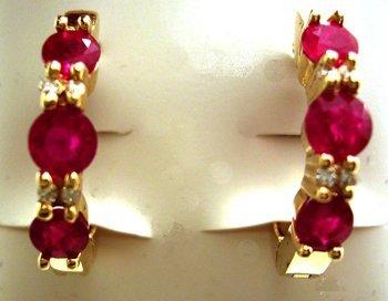 1110: 14KY 1.60ct Ruby Rd Diamond Hoop Earrings