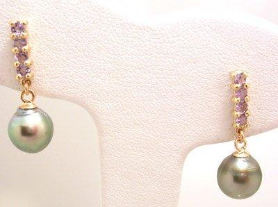 1115: 10KY Tahitian Pearl Tanzanite earring