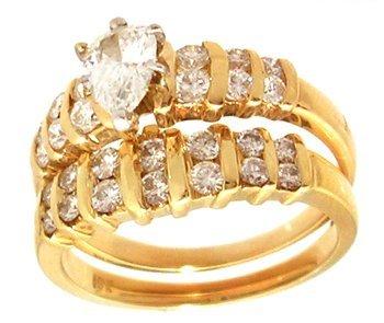 1118: 18KY 1.50cttw Diamond Pear Rd Bridal Set Appr $41