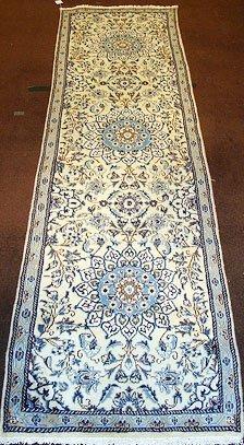 1171: Cream Field Persian Nain Runner Rug 10x3