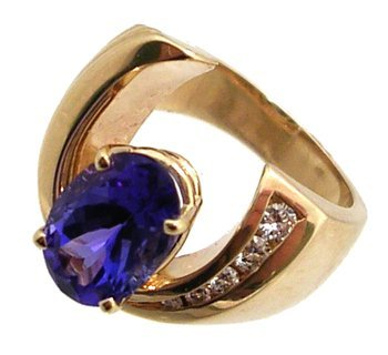 1180: 14KY 2.77ct Tanzanite oval .17ct diam ring APPR$3