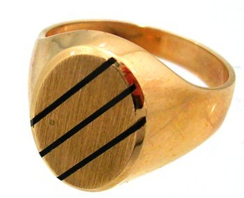 1300: 10KY Onyx Oval Mens Ring 5.9gm