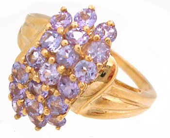 1304: 10KY 1 3/4cttw Tanzanite waterfall cluster ring