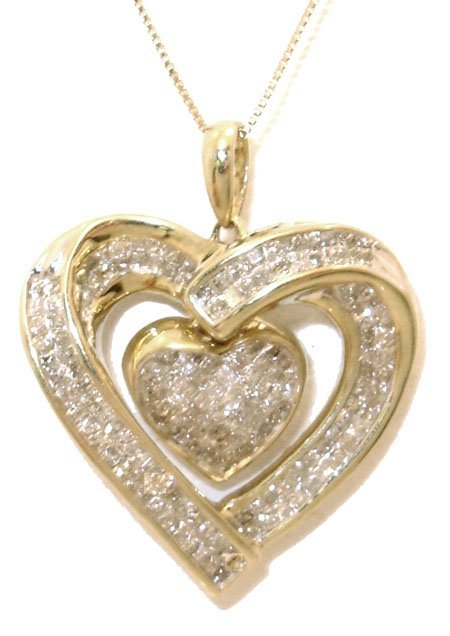 1317: 10KY 1.25cttw Diamond Heart within Heart Necklace