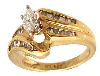 1319: 14KY .96ctw Diamond Marq Ctr Bag Channel Eng Ring