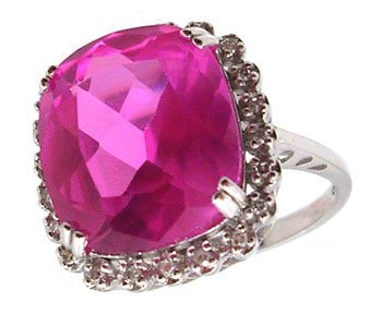 1327: 10KW 4.5ct Created Pink Sapphire Oval .11ct Dia R
