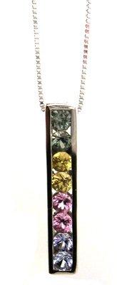 1100: 14KW .40ct Rainbow Sapphire line pendant & chain