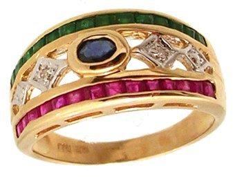 1104: 14KY Sapp Oval Emerald Ruby Princess Dia Filigree
