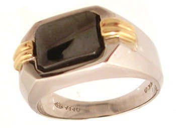 1109: 14KW Hematite two tone mans ring
