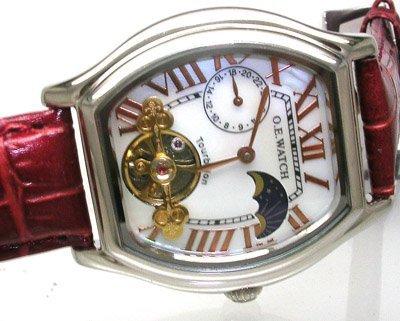 1117: OE Erotic Auto steel Copper Roman Num watch Brown