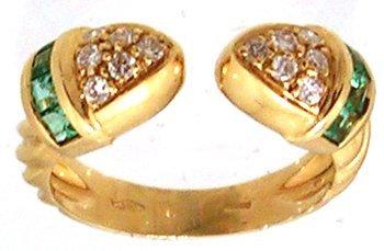 1131: 18KY .50cttw Emerald .25cttw Diamond Bypass Ring