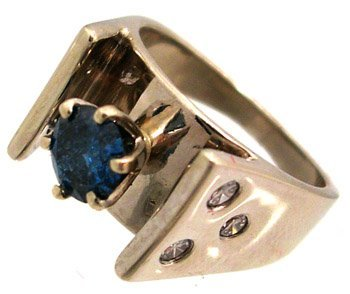 1134: 14KW .63ct Blue Diamond .33ct Dia Gypsy Band Ring