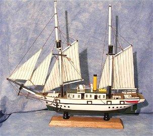 50017: Wooden Green & White Model Ship