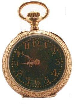 2120: 18KY Ladies French Swiss Pocket Watch RARE
