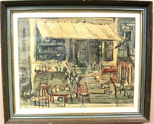 Watercolor Street Scene by listed artist W. Whit