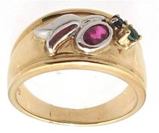 14KY .12ct Ruby Oval Emerald Sapphire Bezel Band
