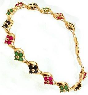 14KY 3cttw Ruby Emerald Sapphire Flower Link Brac
