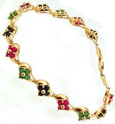 3102: 14KY 3cttw Ruby Emerald Sapphire Flower Link Brac