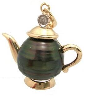 14KY 11mm Tahitian Pearl Dia magic Teapot Pendant