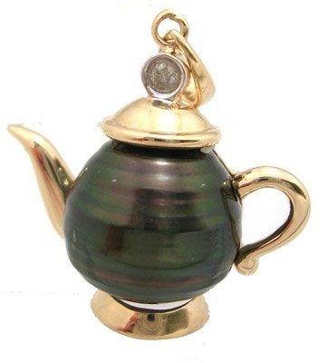 3106: 14KY 11mm Tahitian Pearl Dia magic Teapot Pendant